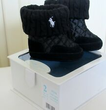 Black padded cable knit/leather trim Polo booties (fits 7cm foot) Ralph Lauren