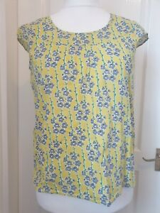 SEASALT Size 12 Yellow 'Green Gate' Floral Print Cotton Top- Summer, Brights