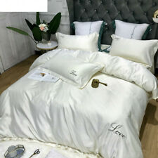 Luxury 4PCS Bedding Set Satin Silk  European Embroidery Bed Sheet Quilt Cover