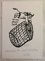 Lothar Sell Original Holzschnitt Gutes Neues Jahr Teufelchen mit Widmung 1982 xz