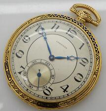 LONGINES 18K Yellow Gold 9 Grands Prix 18.95M 16j Open Face Pocket Watch w/Box
