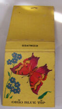 Vintage Matchbook M4 Ohio Blue Tip Goatweed & Butterfly Flowers Natural Theme