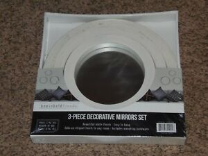 Household Trends 3-Piece White Decorative Mirror Sets(APT-SHELF)