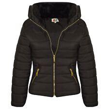 Girls Jacket Kids Padded Black Puffer Bubble Fur Collar Back To School Coats3-13