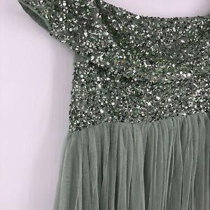 ASOS Maya Deluxe Sage Green Sequin Tulle Maxi Bridesmaid Dress Maternity Size 12