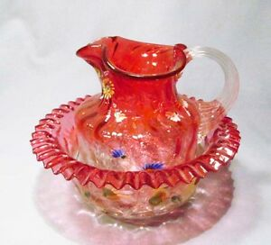 Vintage Moser ? Cranberry Hand Painted Flowers Pitcher Basin Creamer & Sugar Set