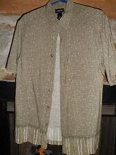 "CLAIBORNE mens M (40"")Green HAWAIIAN Shirt Single Pocket 100% Rayon"