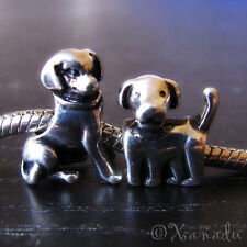 Puppy Dogs Charm Beads 2PCs Set For Large Hole European Style Charm Bracelets