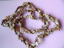 PRETTY TWISTED TOFFEE AGATE & MOTHER OF PEARL LONG NECKLACE
