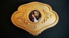 Fine 19th Century French Gilt Bronze Jewelry Box with Enamel Portrait Miniature