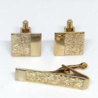 Vintage Men's Gold Tone Design Cufflink Tie Bar Clasp Set