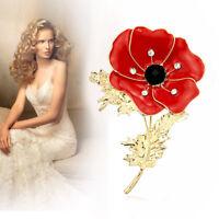 New Poppy Badges 2019 Lapel Pin Badge Crystal Enamel Brooch Red