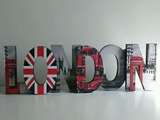 * NEW URBAN CITY LONDON WORD block wallhanging freestanding ornament decoration.
