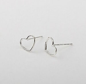Silver Open Heart Earrings - Tiny Solid Sterling Silver 925 Small Wire Outline