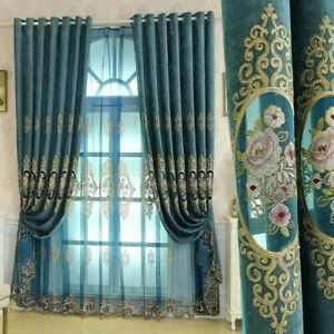 Embroidery Chenille Curtain Fabric Hollow Tulle Window Drape Cloth Blackout Blue