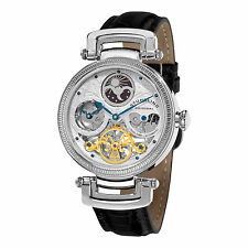 Stuhrling Original Men's Magistrate Automatic Skeleton Watch with Black Leather