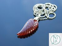 Red Agate Gemstone Angel Wing Pendant Necklace Natural Chakra Healing Stone