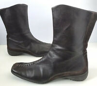 Paul Green Munchen Dark Brown Leather Suede Zip up Stitch Boots US Sz 8.5