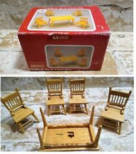 Vintage Town Square Miniatures TABLE W/4 Chairs M05037 Wooden Furniture NEW