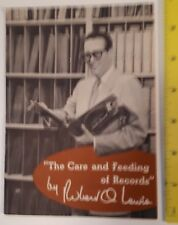 """RARE VINTAGE """"THE CARE AND FEEDING OF RECORDS """" 12 PAGE BOOKLET BY  R. O. LEWIS"""
