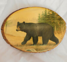 Black bear wooden plaque Mackinac Island American rustic art animal picture