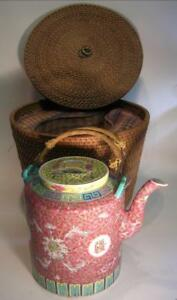 Antique Chinese Famille Rose Teapot. In Original Woven Basket. Qing Dynasty(102)