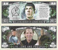 In Loving Memory of Leonard Simon Nimoy Million Dollar Bills x 2 Spock Star Trek