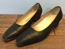"Salvatore Ferragamo 8 B Black Textured Nylon Leather Pumps 2"" Kitten Heel"