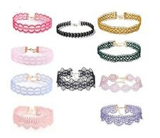 10 Pcs Choker Colorful Necklace Set Stretch Velvet Gothic Tattoo Lace Retro New