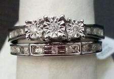 10k White Gold Past Present Future Diamond Wedding Anniversary Ring Band Set