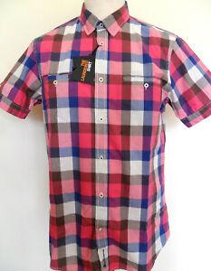 Ben Sherman Men's Short Sleeve Check Shirt Pink Blue White Size: Large