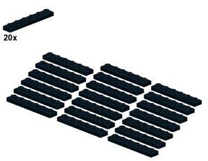 Used LEGO® - Plates - Black - 3666-04 - 1x6 (20Stk) - Platte - Schwarz