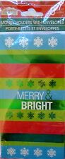 8 ct. Christmas Money Gift Card Holders Cards w/ Envelopes ~ Merry & Bright