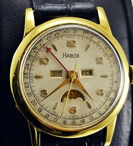 Vintage Haste by Heuer Triple Date Moonphase Men watch Swiss Made Gold Plated