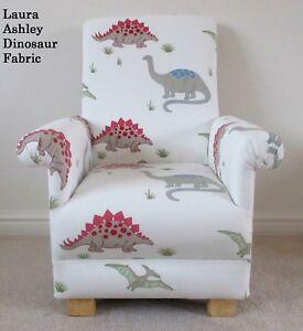 Laura Ashley Dinosaurs Fabric Child Chair Nursery Bedroom Red Blue T-Rex Boy New