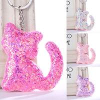 Jewelry Women Car Handbag Pendant Cat Keyring Sequins Keychain Bag Accessorie tx