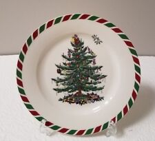 "SPODE CANDY CANE APPETIZER 8"" STONEWARE PLATES  SET OF 4 NEW IN BOX W/TAGS"