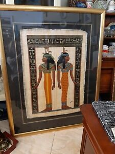 Large Authentic Egyptian GOLD FRAMED Parchment Papyrus Art PAINTING  Hand Made