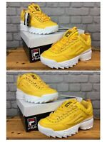 FILA LADIES DISRUPTOR II PREMIUM REPEAT YELLOW CHUNKY TRAINERS VARIOUS SIZES