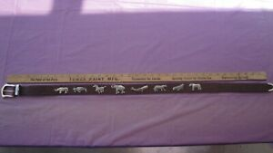 VINTAGE  Honest Womens Leather Belt Silver Brass Zoo Animals  30 INCHES