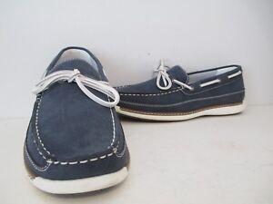 IZOD Mens Heller Casual Faux Leather Boat Shoe Slip On Loafer Navy Size 10.5