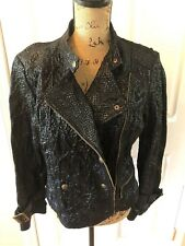 LAL Live a Little Black Crinkle 100% Leather Motorcycle Cropped Jacket Sz Large