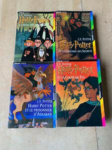 lot 4 livres HARRY POTTER tomes 1 2 3 4 - éditions poches Folio Junior