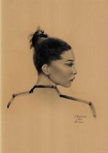original drawing A3 211OJ art female portrait oil dry brush female portrait