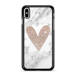Printed Rose Golden Glitter Love Heart Printed White Marble 2D Phone Case Cover
