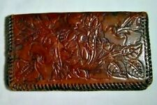 Vintage Hand Tooled Western Brown Leather Checkbook Wallet