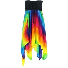 Hanky Hem Dress Swing Tie Dye Rainbow Top Womens Siesta Summer