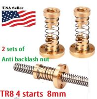 2 sets of 8mm TR8 Lead Screw Trapezoidal ACME Brass Anti-Backlash Nut 4 Start