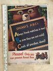 "Vintage 1962 Smokey The Bear ""Smokey's A-B-C's Fire Safety Tips"" Poster"