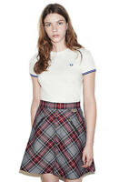 Fred Perry Womens Crew Neck T Shirt - Tipped Cuff Design - White & Blue - UK 8